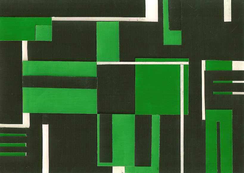 Green, 20*16 cm, painted paper collage, 2004