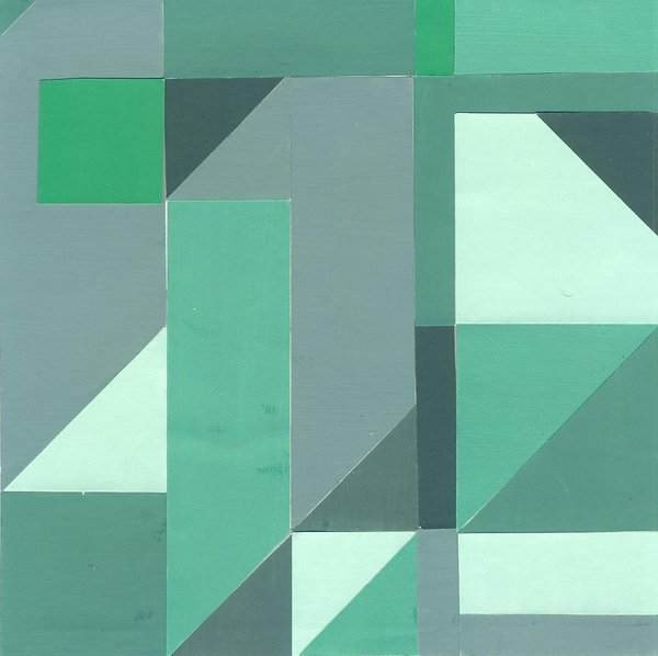 Greenish blue, 16*16 cm, painted paper collage, 2003